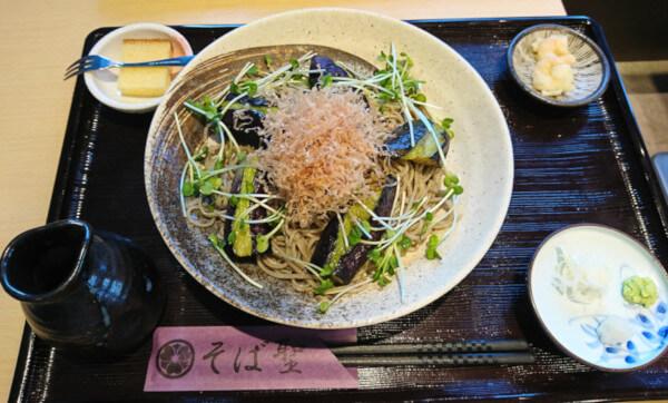 茄そば(3度目の訪問時に注文)で、浜田でおすすめな蕎麦屋そば聖さんの茄そばの画像です。